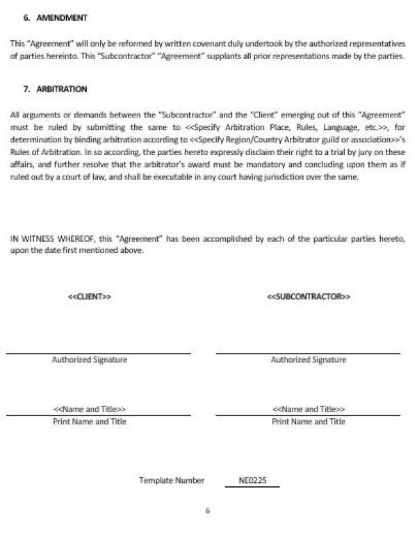 Ne Subcontractor Agreement Template  English  Namozaj