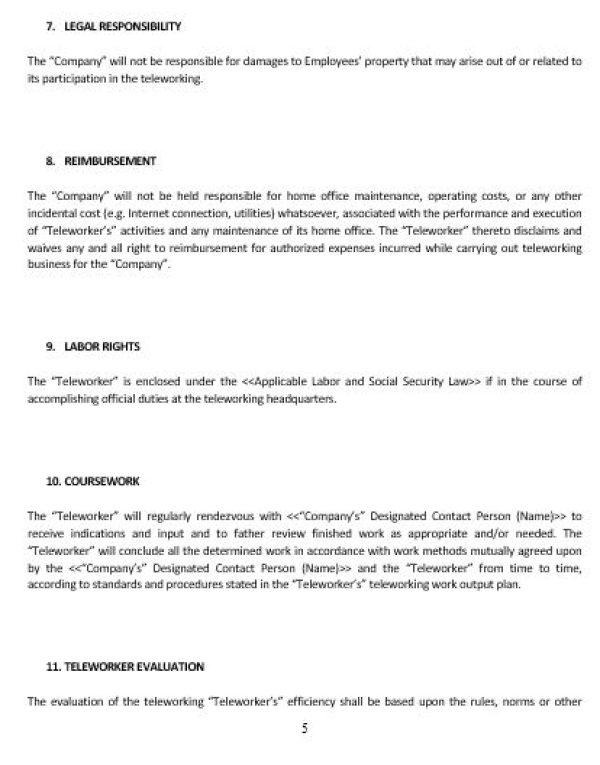 Ne0226 Teleworking Agreement Template English Namozaj