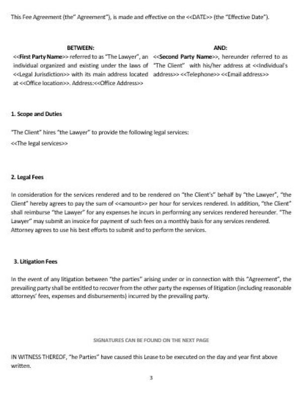 Ne0217 Fee Agreement Template English Namozaj