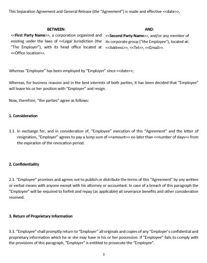 Ne Separation And General Release Agreement Template  English