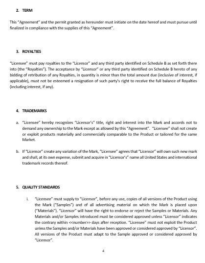 Ne0227 Trademark License Agreement Template English Namozaj