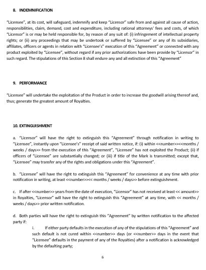 Ne Trademark License Agreement Template  English  Namozaj
