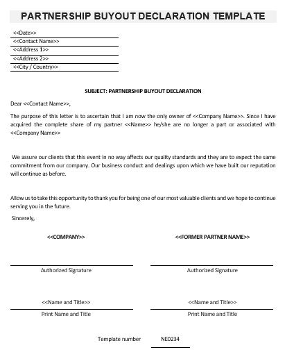 Ne0234 partnership buyout declaration template english for Business buyout agreement template