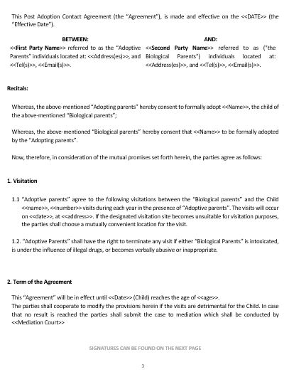 Visitation Agreement Template Vosvetenet – Child Support Agreement Template