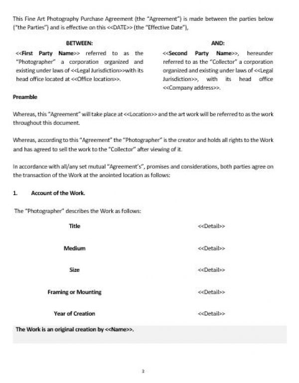 Ne Fine Art Photography Purchase Agreement Template  English