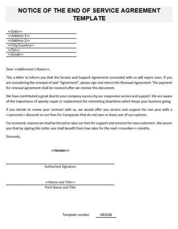 Ne0248 Notice Of The End Of Service Agreement Template – English