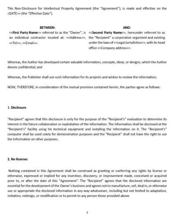 Ne0253 Non Disclosure For Intellectual Property Agreement Template
