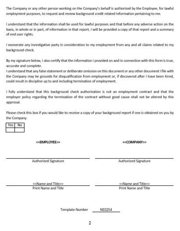 Ne0254 Disclosure And Authorization Form For Employment Related