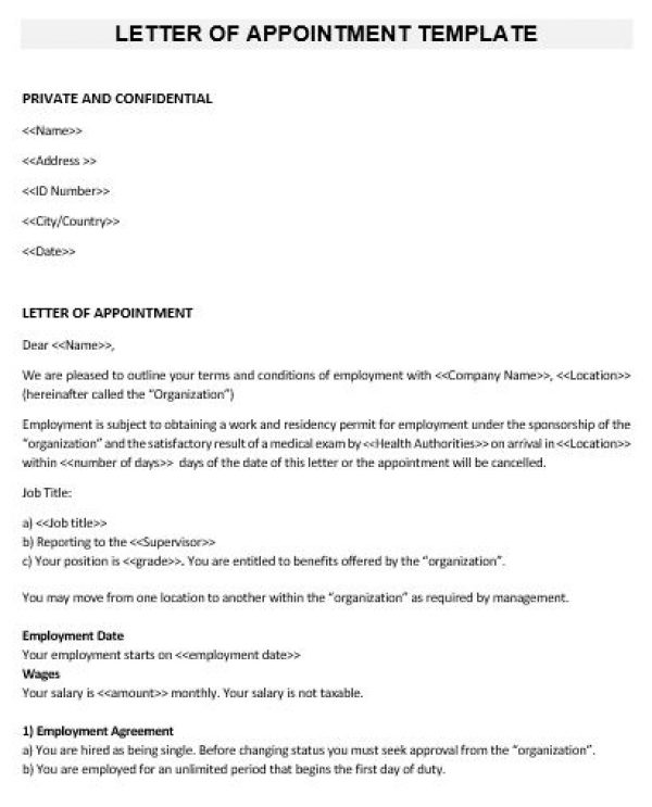 NE0259 Letter of Appointment Template – English