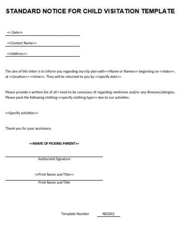 Free Business Letter Template » child visitation template   Business ...