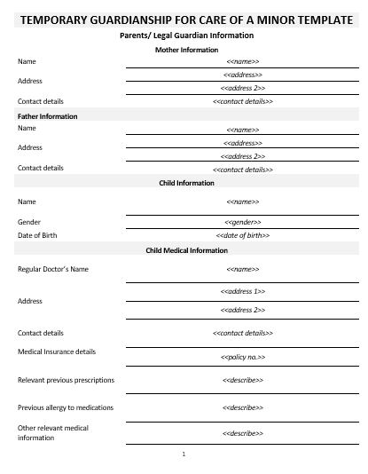 Ne0267 temporary guardianship for care of a minor template for Temporary will template