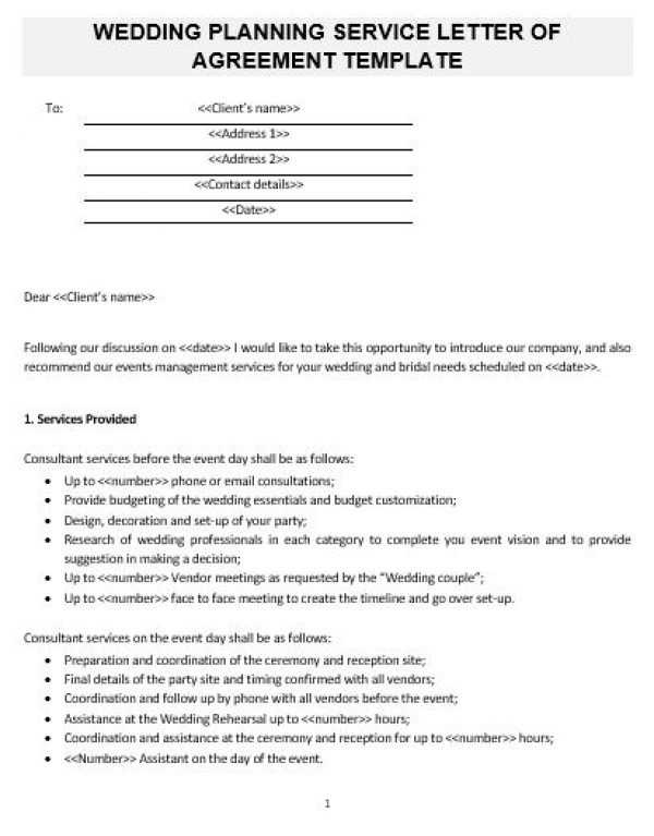Ne0268 Wedding Planning Service Letter Of Agreement Template English
