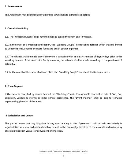 Ne Wedding Planning Service Letter Of Agreement Template