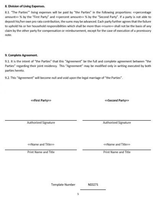 Ne Living  Together Agreement Template  English  Namozaj