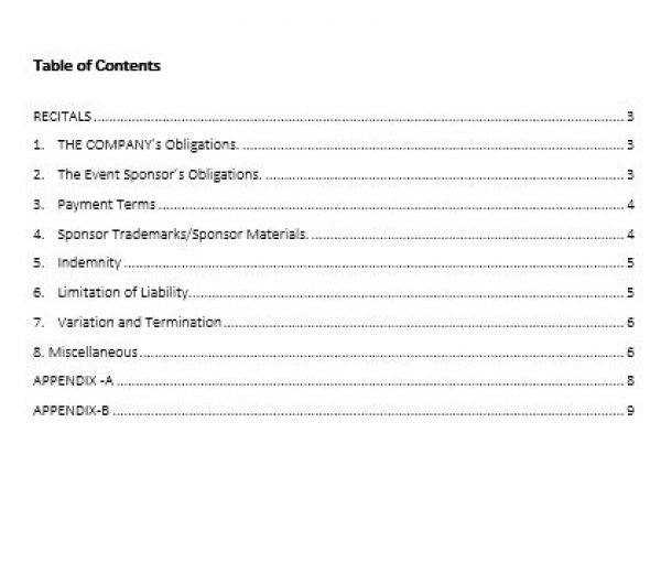 NE0285 EVENT SPONSORSHIP AGREEMENT TEMPLATE U2013 ENGLISH