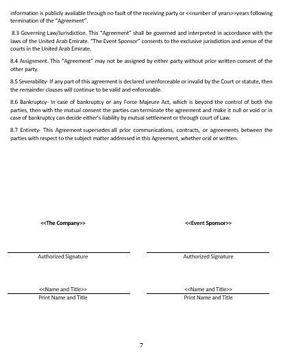 event sponsorship agreement template